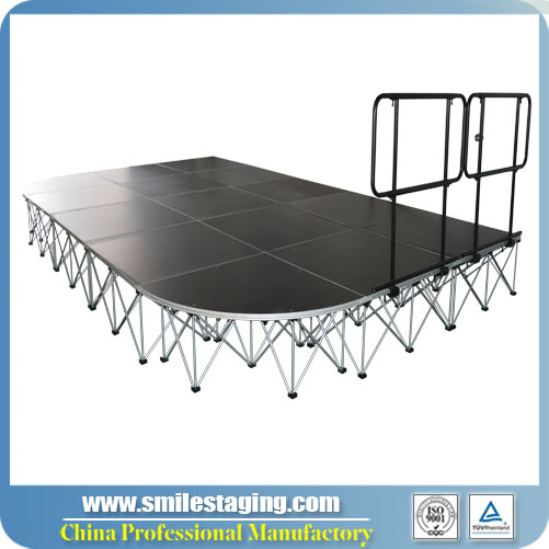 20ft x 12ft Portable Stage Systems/ Non-slip Finish, With Guard Rails